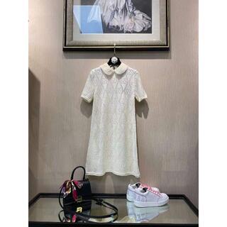 Gucci - 【GUCCI】丸襟 シアーレース Aライン フレア ワンピース ドレス