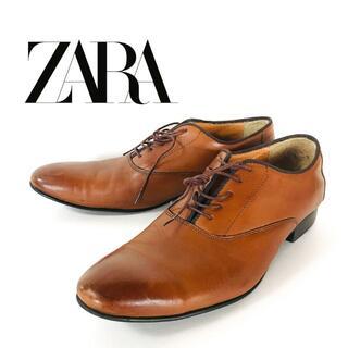 ザラ(ZARA)のZARA ザラ プレーントゥシューズ ブラウン レザー 革靴(ドレス/ビジネス)