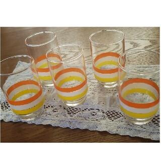 トウヨウササキガラス(東洋佐々木ガラス)の昭和レトロ レトロポップ グラス セット 新品(グラス/カップ)