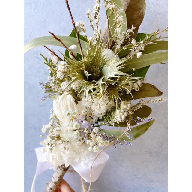 ドライフラワー White&green 白樺 横長スワッグ ハンドメイドのフラワー/ガーデン(ドライフラワー)の商品写真