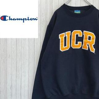Champion - チャンピオン カレッジ系 トレーナー スウェット ネイビー フロッキー刺繍 S