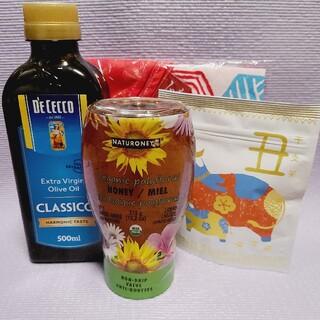 オリーブオイル、蜂蜜、煎茶、手拭いエコバッグのセット(調味料)