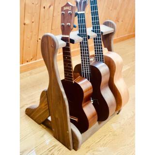 Martin - 【24時間以内に発送】手作り木工 ウクレレスタンド(チーク) 3本掛け