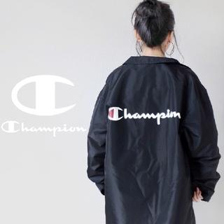Champion - 【超おすすめ!!】Champion BIG筆記体ロゴ 刺繍 黒 ロングジャケット