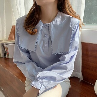 ZARA - セーラー襟 シャツ ブラウス【3color】