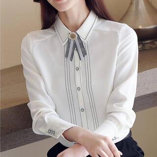 ZARA - ラインデザインレトロリボンシャツ(ホワイト)
