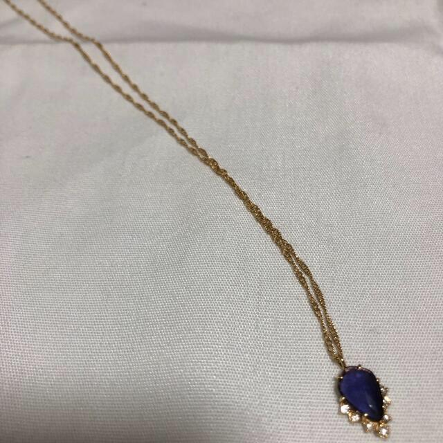 agete(アガット)の極美品!アガットk18アイオライト&ダイヤモンドネックレス レディースのアクセサリー(ネックレス)の商品写真