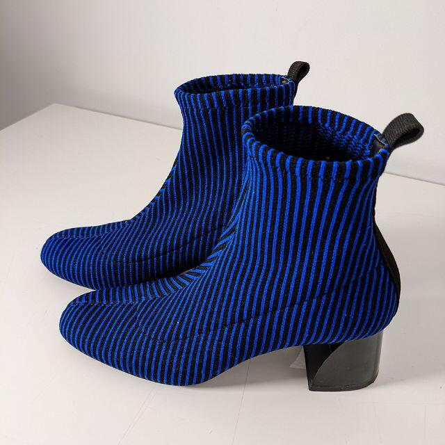 ZARA(ザラ)のストライプニットブーツ ソックスブーツ スクウェアトゥ チャンキーヒール 37 レディースの靴/シューズ(ブーツ)の商品写真