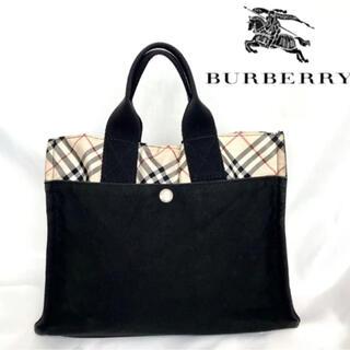 BURBERRY - バーバリー トートバッグ ミニトート バッグ ノバチェック 黒 キャンバス