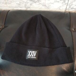 トゥエンティーフォーカラッツ(24karats)の大L 24カラッツ ニット帽 ビーニー コットン100% 薄手 BLACK 黒(ニット帽/ビーニー)