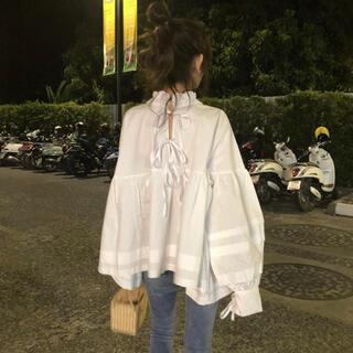 ZARA - リボン付き長袖シャツ フリル 韓国ファッション