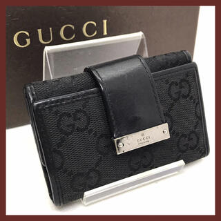 Gucci - GUCCI グッチ キーケース 6連 ブラック GG柄 キャンバス