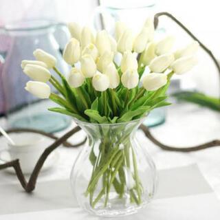 造花 4本 チューリップ 白 ホワイト(ドライフラワー)