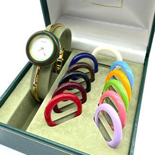 Gucci - 美品☆新品電池 GUCCIチェンジベゼル Mサイズ レディース腕時計