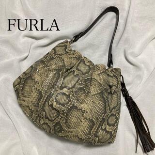 Furla - FURLA フルラ レザー ショルダーバッグ  パイソン 型押し 総柄 蛇 ヘビ