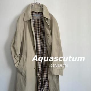 アクアスキュータム(AQUA SCUTUM)のアクアスキュータム ステンカラーコート イギリス製 90年代 ビンテージ(ステンカラーコート)