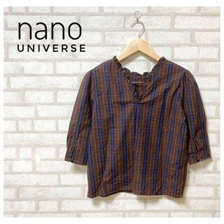 ナノユニバース(nano・universe)のnano universe レディース ブラウス ブラウン チェック S(シャツ/ブラウス(半袖/袖なし))