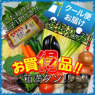 クール便配送‼️新鮮野菜詰め合わせ80サイズ+こだわり玉子1P付き(10玉)(野菜)