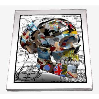 ドクロアート 髑髏 skull 頭蓋骨 立体感 キャンバスアート 模写(ボードキャンバス)