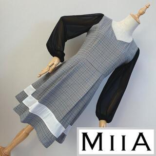 ミーア(MIIA)のMIIA ミーア 袖シフォンチェック柄ワンピース(ひざ丈ワンピース)