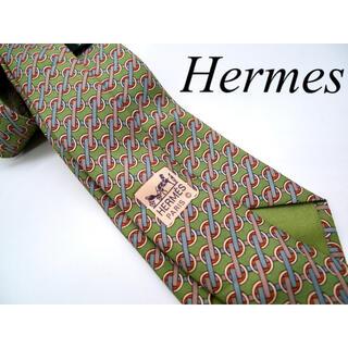 Hermes - Hermes ネクタイ モスグリーン シルク100% フランス製