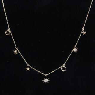 STAR JEWELRY - スタージュエリー ムーン アンド サン ネックレス ダイヤ チャーム K18YG