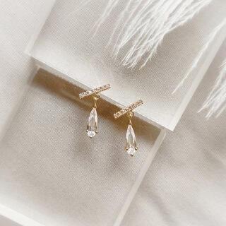 AHKAH - crystal & zirconia bar pierce ◯s925 post