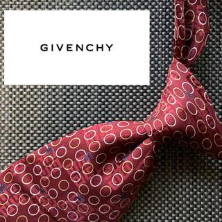 ジバンシィ(GIVENCHY)の【美品】GIVENCHY イタリア製最高シルク100%ネクタイ レッド ロゴ総柄(ネクタイ)
