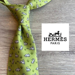 Hermes - 【草原モデル】エルメス 世界最高品質シルク100%ネクタイ グリーン 総柄