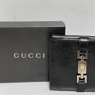 グッチ(Gucci)のGUCCI グッチ レザー 黒 折りたたみ財布(財布)