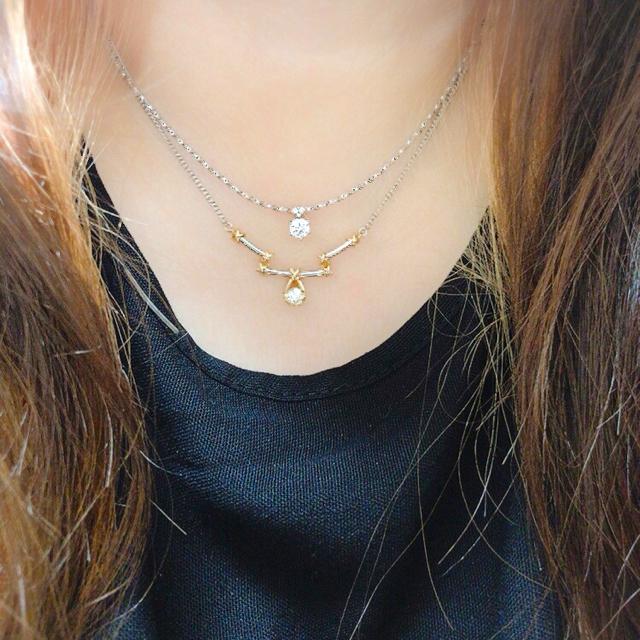 まっちゃん様ご専用です。プラチナダイヤモンドネックレス K18ダイヤモンドネック レディースのアクセサリー(ネックレス)の商品写真