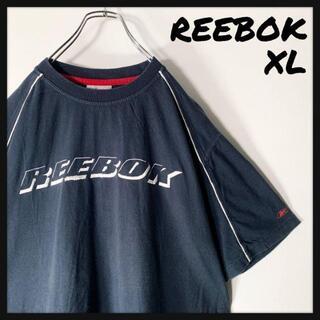 リーボック(Reebok)の【レアデザイン XL】リーボック Reebok 刺繍ロゴ パイピング Tシャツ(Tシャツ/カットソー(半袖/袖なし))