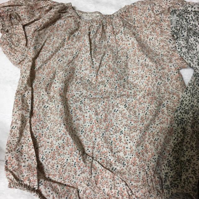 monbebe リーフ柄ロンパース  M 半袖 キッズ/ベビー/マタニティのベビー服(~85cm)(ロンパース)の商品写真