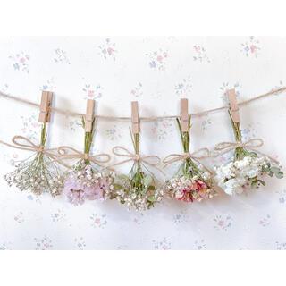 3種のピンクのバラとかすみ草とユーカリのドライフラワーガーランド♡スワッグ♡(ドライフラワー)
