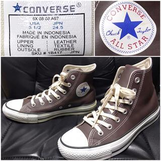 CONVERSE - converse送料込コンバース革レザースニーカー24.5ハイカット格安アメカジ