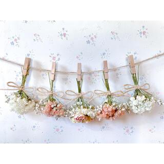 淡い3種のバラとかすみ草の淡いオレンジドライフラワーガーランド♡スワッグ♡ブーケ(ドライフラワー)