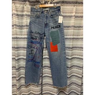 Leather Patch&Hand Paint Denim Pants