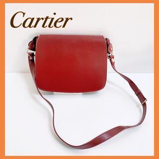 カルティエ(Cartier)のCartier カルティエ マストライン ショルダーバッグ レザー ボルドー(ショルダーバッグ)