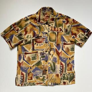 【超激レア‼︎】半袖 柄シャツ レトロ アート 幾何学模様 入手困難 大人気 (シャツ)