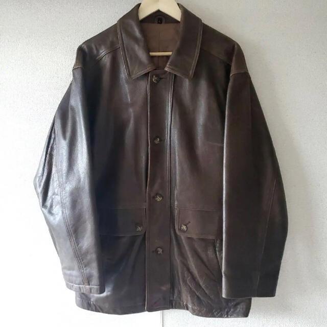 JOHN LAWRENCE SULLIVAN(ジョンローレンスサリバン)のヴィンテージ レザージャケット カバーオール ダークブラン 本革 メンズのジャケット/アウター(レザージャケット)の商品写真