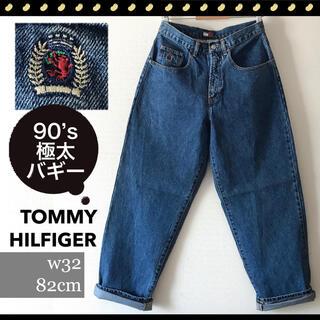 TOMMY HILFIGER - Tommy Hilfiger★90sエンブレムロゴ刺繍★極太バギー★デニムパンツ