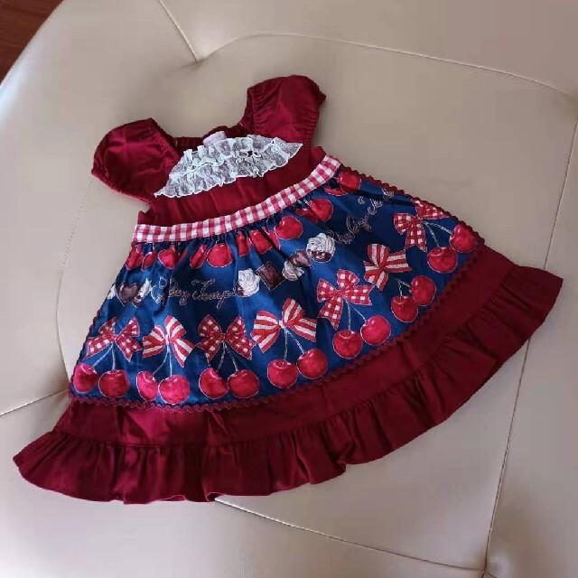 Shirley Temple(シャーリーテンプル)のシャーリーテンプルチェリーチョコエプロンワンピース キッズ/ベビー/マタニティのキッズ服女の子用(90cm~)(ワンピース)の商品写真