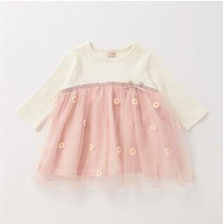 petit main - 新品 タグ付☆プティマイン マーガレットチュールドッキングTシャツ ライトピンク