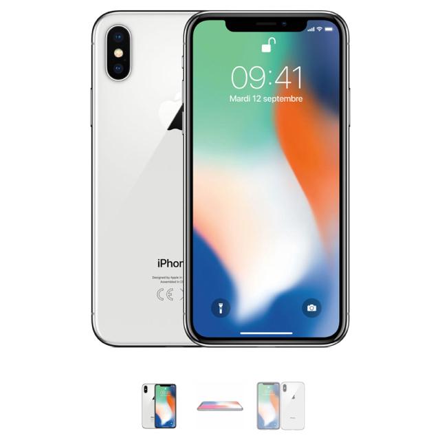 Apple(アップル)のiPhone X 新品 256GB シルバー 箱 ケース付き スマホ/家電/カメラのスマートフォン/携帯電話(スマートフォン本体)の商品写真