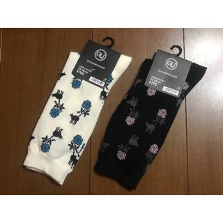 ジーユー(GU)のオフホワイト&ブラック ソックス2組 GU アンダーカバー crew socks(ソックス)