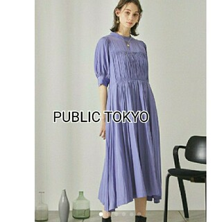 PUBLIC TOKYO ハイネックギャザーワンピース