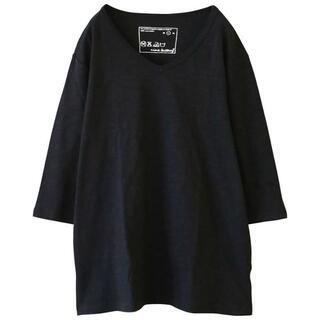 ここなおさん専用osharewalker メンズ カットソー6分袖 ブラック(Tシャツ/カットソー(七分/長袖))