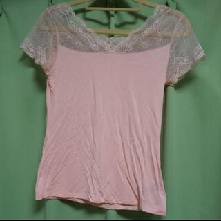 レース Tシャツ フェミニン オシャレ インナー ピンク(Tシャツ(半袖/袖なし))