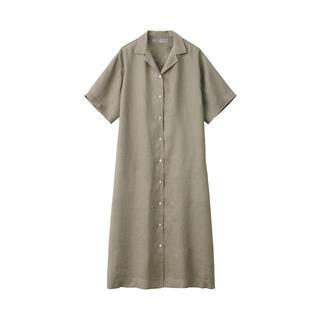 MUJI (無印良品) - 無印良品 フレンチリネン洗いざらし五分袖開襟ワンピース 婦人M~L