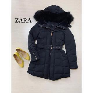 ザラ(ZARA)のザラ ZARA ロング ダウン コート S ブラック(ダウンコート)